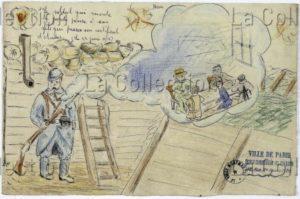 France. IIIe République. Première Guerre mondiale. Pensée de soldat. 1916. Dessin. Paris, Musée de Montmartre.