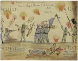 France. IIIe République. Première Guerre mondiale. Souvenir d'un petit réfugié : ce que j'ai vu lors de la prise du village de Boussois. Dessin. Paris, Musée de Montmartre.