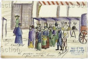France. IIIe République. Première Guerre mondiale. La queue au marché pour avoir du beurre. Pénurie. 1917. Dessin. Paris, Musée de Montmartre.