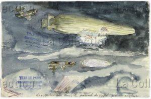 France. IIIe République. Première Guerre mondiale. A la poursuite du zeppelin dans le ciel de Paris. 1916. Dessin. Paris, Musée de Montmartre.