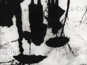 Reflets. Deux personnes avec parapluies sous des arbres. Vers 1930. Photographie. Collection particulière.