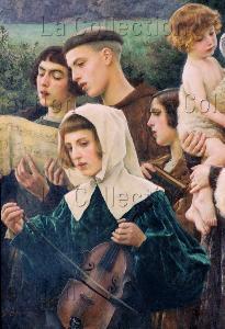 Cesare Saccaggi. Les fidèles au pardon. Détail : chantres et musicien. 1903. Peinture. Gimel-les-Cascades. Eglise St-Pardoux-de-Guéret.