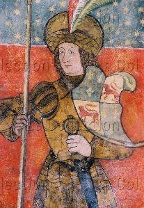 Art gothique. Gimel-les-Cascades. Eglise St-Pardoux-de-Guéret. Un chevalier (mi-corps). XIVe-XVe siècle. Peinture murale.