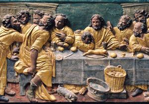 Saint-Fréjoux. Eglise St-Frédulphe-de-Saintes. Tournié de Gourdon (atelier des). La Cène. Dernier tiers XVIIe siècle. Sculpture.