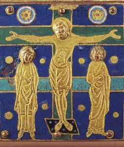 Art gothique. Châsse de la Crucifixion. Détail : la Crucifixion. Vers 1190-1200. Email. Tulle. Cathédrale.