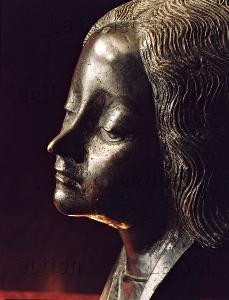 Pierre Fréchieux (attribué à). Chef-reliquaire de sainte Fortunade. Détail. Vers 1450. Sculpture. Sainte-Fortunade. Eglise St-Martial-et-St-Barthélémy.