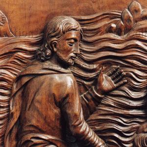 Naves. Eglise St-Pierre. Pierre Duhamel. Retable. Panneau : saint Pierre marchant sur les eaux. Détail : le Christ. 1690-1704. Sculpture.