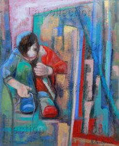 Hayet Aoudjhane. Le lacet. 2008. Peinture. Collection particulière.