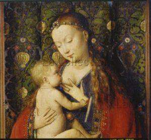 Jan van Eyck. La Madone de Lucques. Détail. 1436. Peinture. Francfort/Main, Städel Museum.