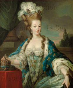 Carle van Loo (entourage). Portrait de Marie-Antoinette, reine de France, en habit de couronnement. Vers 1774. Peinture. Collection particulière.