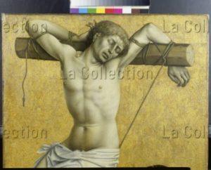 Robert Campin (Maître de Flémalle). Le Mauvais Larron sur la Croix. Détail : le Mauvais Larron (Gestas ou Gesmas). XVe siècle. Peinture. Francfort/Main, Städel Museum.