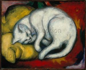 Franz Marc. Die Weisse Katze (Le chat blanc). 1912. Peinture. Halle, Museum Moritzburg.