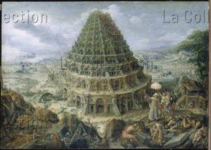 Martin I van Valckenborch le Vieux. La tour de Babel. 2e moitiè XVIe-début XVIIe siècle. Peinture. Dresde, Gemäldegalerie Alte Meister.