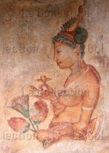 Art sri-lankais. Sigirîya. Apsarâ. Ve siècle. Peinture murale.