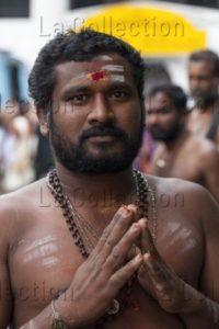 Inde. Thiruvananthapuram (Kerala). Temple de Shri Padmanabhaswamy. Portrait d'un pèlerin. Photographie de Manuela Boehme.