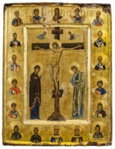 Art byzantin. La Crucifixion. Fin XIe-début XIIe siècle. Peinture. Mont Sinaï, Monastère Sainte-Catherine.