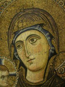 Art byzantin. Vierge à l'Enfant. Détail. XIIIe siècle. Mosaïque. Mont Sinaï, Monastère Sainte-Catherine.