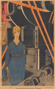 Paul Iribe. Femme dans une usine. 1917. Gravure. Collection particulière.