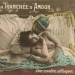 """France. Première Guerre mondiale. """"Dans la tranchée d'amour, Une contre-attaque"""". Vers 1914-1918. Photographie. Collection particulière."""