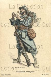 Première Guerre mondiale. L'infanterie française. 1914-1918. Gravure. Collection particulière.