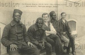 Première Guerre mondiale. France. Les troupes noires. Vers 1914-1915. Carte postale. Collection particulière.