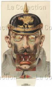 Allemagne. Première Guerre mondiale. Guillaume II (caricature). 1914-1918. Gravure. Collection particulière.