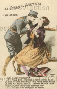 France. Première Guerre mondiale. L'aviateur (carte humoristique). 1914-1918. Photographie. Collection particulière.