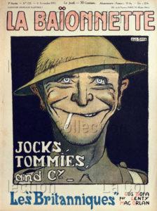 """France. IIIe République. Première Guerre mondiale. """"La Baïonnette"""" (Gus Bofa). """"Jocks Tommies and Cy"""". """"Les Britanniques"""". 1917. Gravure. Collection particulière."""