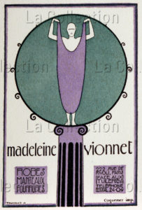 """Thayaht (Ernesto Michahelles). Publicité pour la maison de couture """"Madeleine Vionnet"""". Vers 1922. Imprimé. Collection particulière."""