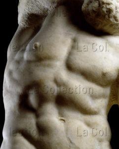 Michel Ange. Prisonniers (Esclaves). L'esclave Barbu. Détail : Torse. 1530 1533. Sculpture. Florence. Galerie de L'Académie.