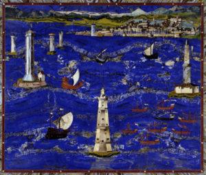 Gaffurri, Cristofano. Le port de Livourne (dessus de Table). 1604. Mosaïque. Florence, Musée des Offices.