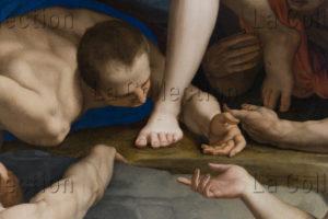 Bronzino. La Descente Aux Limbes. Détail : Homme Baisant les pieds du Christ. 1552. Peinture. Florence, Musée de Santa Croce.