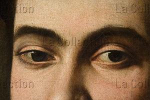 Caravage. Portrait de Maffeo Barberini, Futur Urbain VIII. Détail : Yeux. 1596 1597. Peinture. Collection Particulière.