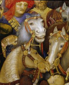 Gentile Da Fabriano. L'Adoration Des Mages (après Restauration). Détail : Chevaux. 1423. Peinture. Florence. Musée des Offices.