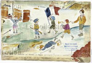France. IIIe République. Première Guerre Mondiale. Des Enfants Jouent à La Guerre. 1916. Dessin. Paris, Musée De Montmartre.