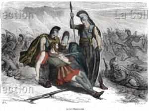 Grèce. Histoire. La Mort D'Epaminondas à La Bataille De Mantinée, Contre La Coalition Athéno Spartiate. 1881. Gravure. Collection Particulière.