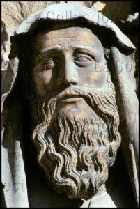 Art Gothique. Reims. Cathédrale Notre Dame. Façade Ouest. Portail Central. Détail : Tête De Syméon. Vers 1250. Sculpture.
