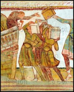 Art Roman. St Savin Sur Gartempe. Eglise Abbatiale. Nef. Voûte. Détail : La Construction De La Tour De Babel. Fin XIe Début XII Siècle. Peinture Murale.
