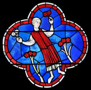 Art Gothique. Paris. Cathédrale Notre Dame. Rosace Ouest. Calendrier. Détail : Jeune Homme Tenant Des Fleurs (avril Mai). XIIIe Siècle. Vitrail.