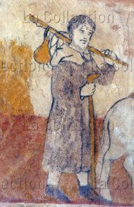Suzan. Eglise St Jean Baptiste. Saint Joseph en Pélerin. XIVe Siècle. Peinture Murale.