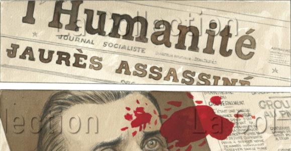 """""""Mattéo"""". Tome 1. Gibrat, Jean Pierre (ill. et récit). La une de """"L'Humanité"""", le jour de l'assassinat de Jaurès (1914). Futuropolis, 2008, p. 3."""