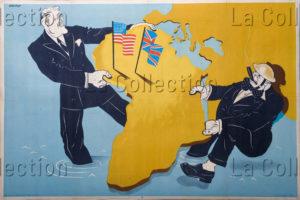 """Histoire. """"Caricature de Roosevelt et Churchill se partageant le monde"""". Coll. Part."""