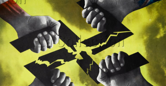 """Histoire. Affiche USPF II. """"Croix gammée écartelée par les quatre drapeaux"""". 1944. Coll. Part."""