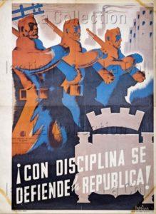 """Espagne. Guerre Civile Espagnole. Parilla, Carmen.""""!Con Disciplina Se Defiende La Republica!"""". 1937. Collection Particulière. Part."""