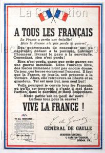 France. Seconde Guerre mondiale. L'Appel du 18 juin. 1940. Imprimé. Collection particulière.