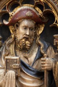 Art Gothique. Espagne. Vic. Cathédrale Sant Pere. Retable de L'autel Majeur. Oller, Pere. Saint Jacques Le Majeur. 1420 1428. Sculpture.