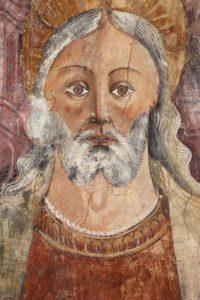 Art Gothique. Corse. Castello Di Rostino. Chapelle St Thomas De Pastoreccia. Détail : Visage Du Christ. 4e Quart XVe Siècle. Peinture Murale.
