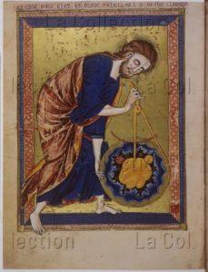 """""""Bible Moralisée"""". Dieu, créateur du monde. Entre 1325 et 1350. Miniature. Vienne, Österreichische Nationalbibliothek."""