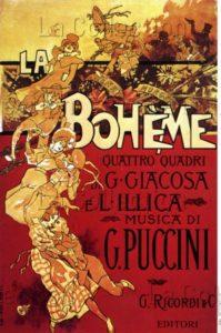"Adolfo Hohenstein. ""La Bohème"" (Giacomo Puccini). Affiche. 1896. Gravure. Collection particulière."