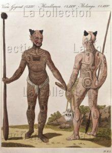Océanie. Ethnologie. Polynésie. Îles Marquises. Un jeune homme et un homme âgé avec des tatouages corporels et des ornements de tête. Vers 1820. Gravure. Collection particulière.